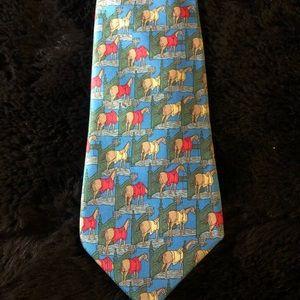 Hermès vintage tie. Blue w/ horses . Silk.